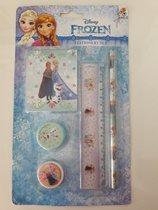 Disney Frozen schrijfset / schoolset, potlood, notitieblokje, puntenslijper, gum, liniaal