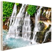 Brede waterval Hout 80x60 cm - Foto print op Hout (Wanddecoratie)