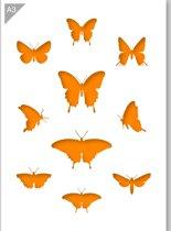 Vlinder sjabloon - Kunststof A3 stencil - Kindvriendelijk sjabloon geschikt voor graffiti, airbrush, schilderen, muren, meubilair, taarten en andere doeleinden
