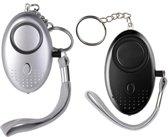 Persoonlijke Alarm  - 2 Stuks - Zelfverdediging - Noodalarm - Beveiligingsalarm - Sleutelhanger Zilver/ Zwart - 130 Decibel!