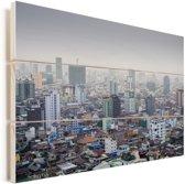 Luchtfoto bij de hoofdstad Phnom Penh in Cambodja Vurenhout met planken 90x60 cm - Foto print op Hout (Wanddecoratie)