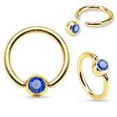 Helix piercing ring gold plated blauwe steentje ©LMPiercings