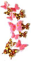 3D Vlinders Muursticker / Roze en bruin/ Muurdecoratie Voor Kinderkamer / Babykamer / Slaapkamer - Vlinder Sticker Roze en bruin