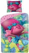 Trolls Happy - Dekbedovertrek - Eenpersoosn - 140 x 200 cm - Roze