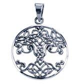 Zilveren Keltische knoop ketting hanger - levensboom