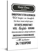 Mooi cadeau voor oma met tekst - Hotel Oma altijd open Aluminium 20x30 cm