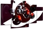 Canvas schilderij Abstract | Bruin, Rood, Wit | 160x90cm 4Luik