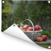 Mand met verse appels Tuinposter 50x50 cm - klein - Tuindoek / Buitencanvas / Schilderijen voor buiten (tuin decoratie)