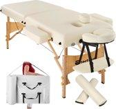 TecTake - Massagetafel met 2 massagekussens  - beige - incl. draagtas - 400420
