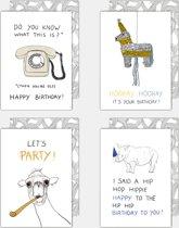 Set van 4 leuke, grappige verjaardagskaarten