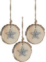 Kerstboomhanger Ster op schijf Silver (6 cm) 3 Stuks
