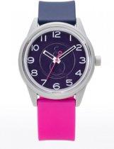 Q&Q RP00J048Y Smile Solar horloge 40 mm 50 meter grijs/ blauw/ roze