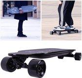 Cool&fun Elektrisch Longboard, 4-wiel Skateboard, Elektrisch bord Off-Road,LG-batterij met afstandsbediening,Luipaard Zwart