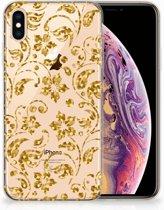 iPhone Xs Max  TPU-siliconen Hoesje Design Gouden Bloemen