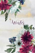 Winter: Personalized Journal Gift Idea for Women (Burgundy and White Mums)
