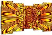 Canvas schilderij Abstract | Geel, Bruin | 150x80cm 5Luik