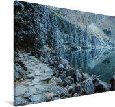 Het besneeuwde landschap van het Nationaal park Tatra in Polen Canvas 180x120 cm - Foto print op Canvas schilderij (Wanddecoratie woonkamer / slaapkamer) XXL / Groot formaat!