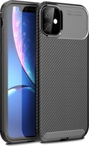 Mobigear Carbon Fiber Shockproof Hoesje Zwart iPhone 11