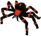 Halloween Decoratie spin zwart met oranje 60 cm