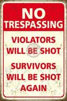 Mini muurplaatje No Trespassing 15x20cm