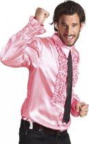 Voordelige lichtroze rouche blouse M