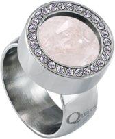 Quiges RVS Schroefsysteem Ring met Zirkonia Zilverkleurig Glans 20mm met Verwisselbare Kwarts Roze 12mm Mini Munt