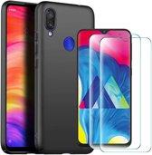 Huawei Y6 2019 Hoesje Zwart TPU Siliconen Soft Case + 2X Tempered Glass Screenprotector