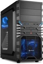 Sharkoon VG4-W computerbehuizing Midi-Toren Zwart, Blauw