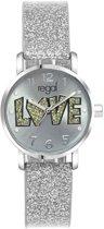 Regal - Regal glitter meisjes horloge zilverkleurig