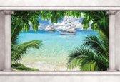 Fotobehang Beach Tropical Island Window View | XXXL - 416cm x 254cm | 130g/m2 Vlies
