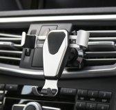 Universele zwaartekracht Telefoon Houder / gravity houder voor in de Auto voor ventilatie rooster – Aluminium & met handig zwaartekracht kliksysteem – Zwart & Zilver kleurig