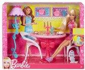 Barbie salonytafel met 2 stoelen
