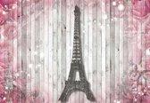 Fotobehang Eiffel Tower Flowers Pink Wooden Wall | M - 104cm x 70.5cm | 130g/m2 Vlies