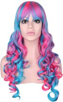 Luxe lange pruik roze blauw met krullen en pony - gekleurde unicorn eenhoorn zeemeermin candy lollipop