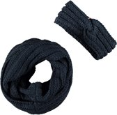 B-Nosy Meisjes winter accessoires B-Nosy Girls coll scarf + headband blauw T1