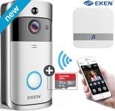 EKEN V5 deurbel met camera + 32GB SD kaart – NL Handleiding – Draadloze deurbel met camera – inclusief gong + 3 oplaadbare batterijen – Video deurbel