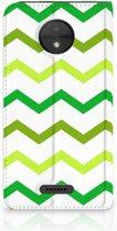 Motorola Moto C Uniek Standcase Hoesje Zigzag Groen