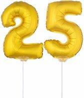 Gouden opblaas cijfer 25 op stokjes - verjaardag versiering / jaar