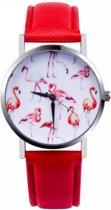 Flamingo Horloge - Rood in Horlogedoosje