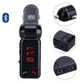 XIB Bluetooth FM Transmitter 2x USB en AUX 3.5mm Jack - MP3 autoradio - Handsfree carkit - Zwart