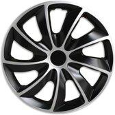Wieldoppen 15 inch - Rotar Zilver Zwart - 4 stuks