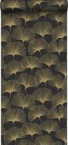 Origin behang ginkgo bladeren zwart en goud - 347734