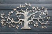 wanddecoratie metalen boom - taupe gemeleerd - 106 cm breed x 59 cm hoog