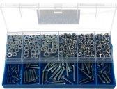 Verzinkte 259-delige Bouten Moeren en Sluitringenset in Blauwe Opberg Box – 10x20x4 cm