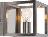 QAZQA Cage - Wandlamp - 1 lichts - D 200 mm - Staal