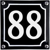 Zwart emaille huisnummer  - 88