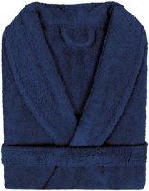 Badjas Badstof Uni Pure Royal met Shawlkraag Donker Blauw col 2094 Maat XL