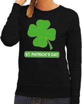 St. Patricksday klavertje sweater zwart dames L
