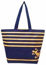 Damestas strandtas Bahia Gekko blauw/oranje strepen 58 cm - Dames handtassen - Shopper - Boodschappentassen