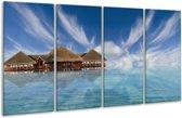 Glasschilderij Zee | Blauw, Wit, Bruin | 160x80cm 4Luik | Foto print op Glas |  F000685